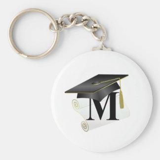 Casquillo y diploma M de la graduación Llaveros