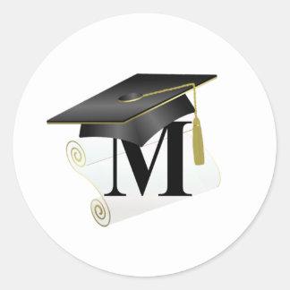 Casquillo y diploma M de la graduación Pegatina Redonda