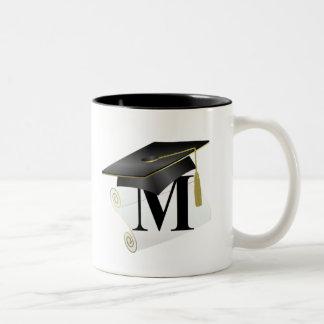 Casquillo y diploma M de la graduación Taza De Café