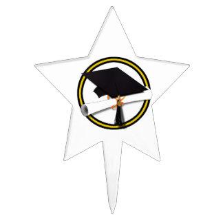 Casquillo y diploma - oro y colores negros del decoración para tarta