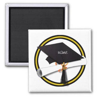 Casquillo y diploma - oro y colores negros del imanes para frigoríficos
