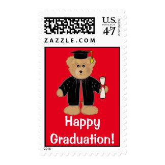 Casquillo y vestido del oso de peluche de la timbre postal
