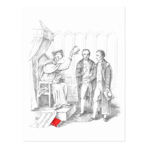 Casquillo y vestido que llevan esqueléticos tarjeta postal