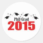 Casquillos y diplomas del graduado 2015 del PhD Pegatina Redonda