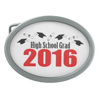 Casquillos y diplomas del graduado 2016 de la High Hebillas De Cinturón Ovales