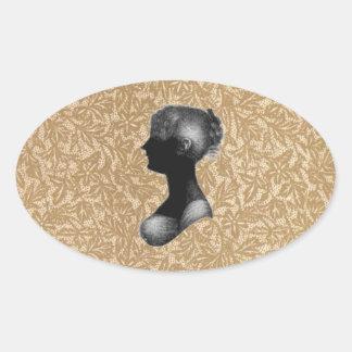 Cassandra Austen in Antique Paper Oval Sticker