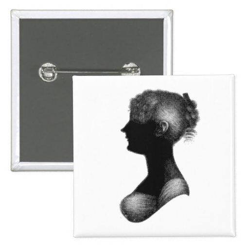 Cassandra Austen's Silhouette 2 Inch Square Button
