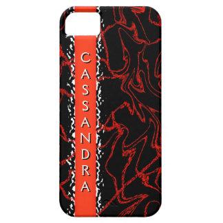 CASSANDRA Black Orange Marble Bling Iphone 5 Case