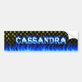 Cassandra blue fire and flames bumper sticker desi