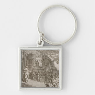 Cassandra Foretells the Trojans Their Fate and is Silver-Colored Square Keychain