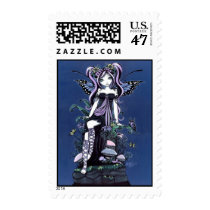 fairy, faerie, fae, faery, fairies, pixie, mushrooms, flower, butterfly, nature, gothic, myka, jelina, fantasy, art, fine, cute, blue, violet, acrylic, Stamp with custom graphic design