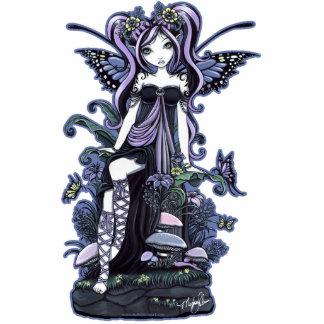 """""""Cassandra"""" Violet Blue Butterfly Fairy Art Standing Photo Sculpture"""