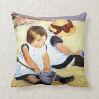 Cassatt Children Playing on Beach Throw Pillows