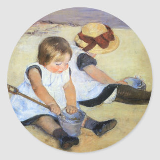 Cassatt: Children Playing on the Beach Classic Round Sticker