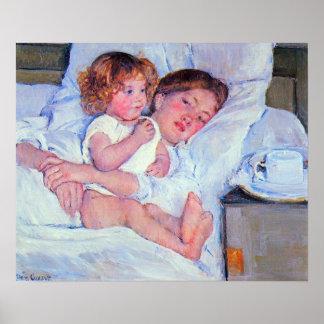 Cassatt-Desayuno de Maria Stevenson en cama Poster