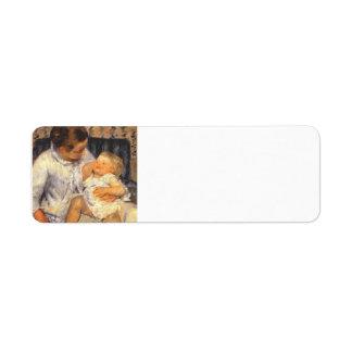 Cassatt-Madre de Maria alrededor para lavar a su n Etiquetas De Remite