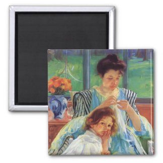 Cassatt: Young Mother 2 Inch Square Magnet