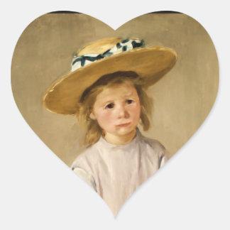 Cassatt's Child in Straw Hat - with a Sweet Smile Heart Sticker