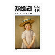 Cassatt's Child in Straw Hat - with a Sweet Smile Postage