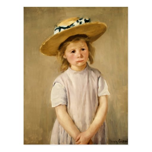 Cassatt's Child in Straw Hat - with a Sweet Smile Postcard