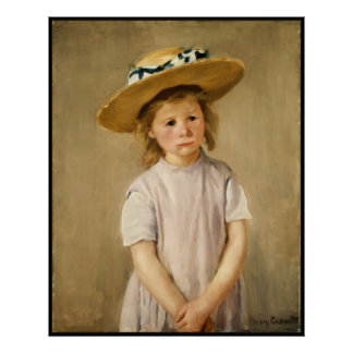 Cassatt's Child in Straw Hat - with a Sweet Smile Poster
