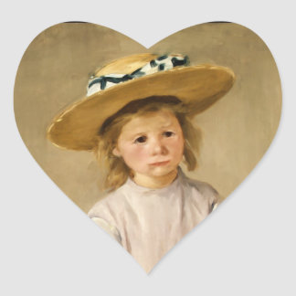 Cassatt's Child in Straw Hat - with a Sweet Smile Heart Stickers