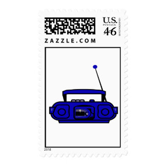 cassette boombox with notes bluish png postage stamps