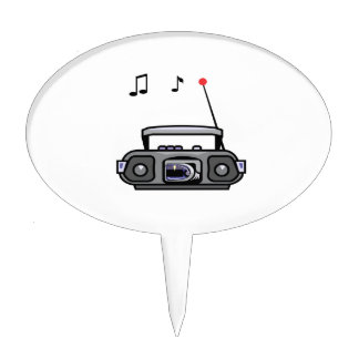 cassette boombox with notes grey.png cake topper