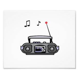 cassette boombox with notes grey.png photo print