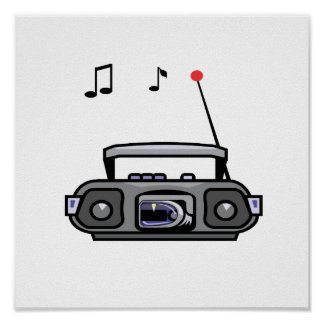 cassette boombox with notes grey.png poster