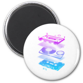 Cassette Explosion View - Music Tape Retro DJ 2 Inch Round Magnet