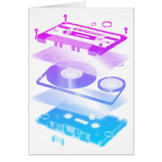Cassette Explosion View - Music Tape Retro DJ Card