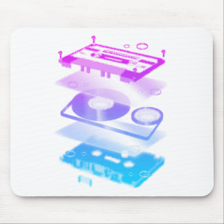 Cassette Explosion View - Music Tape Retro DJ Mouse Pad