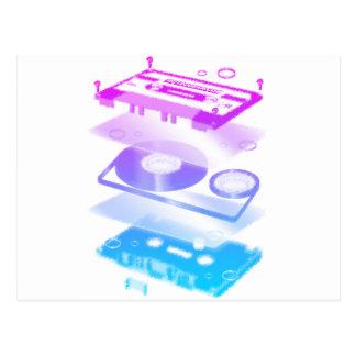 Cassette Explosion View - Music Tape Retro DJ Postcard