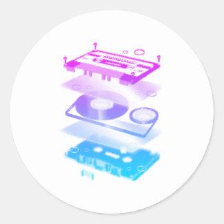 Cassette Explosion View - Music Tape Retro DJ Round Sticker