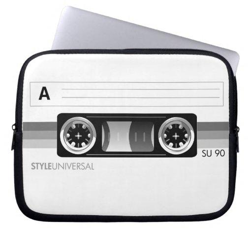 Cassette label gray laptop sleeve