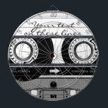 """Cassette tape - black - dartboard with darts<br><div class=""""desc"""">This product features my &quot;Cassette Tape&quot; design in black.     The &quot;Cassette Tape&quot; design features a typical vintage music cassette tape,  with a transparent case and colorful stickers and writing,  It also has customizable text which you can personalize.</div>"""