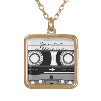 Cassette tape - black - gold plated necklace