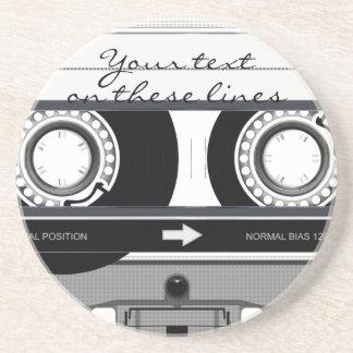 Cassette tape - black - sandstone coaster