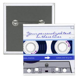 Cassette tape - blue - pinback buttons