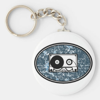 Cassette Tape Blue Basic Round Button Keychain