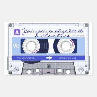 Cassette tape - blue - rectangular sticker