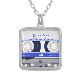 Cassette tape - blue - silver plated necklace