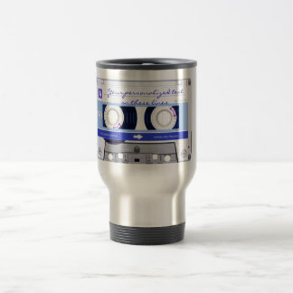 Cassette tape - blue - travel mug