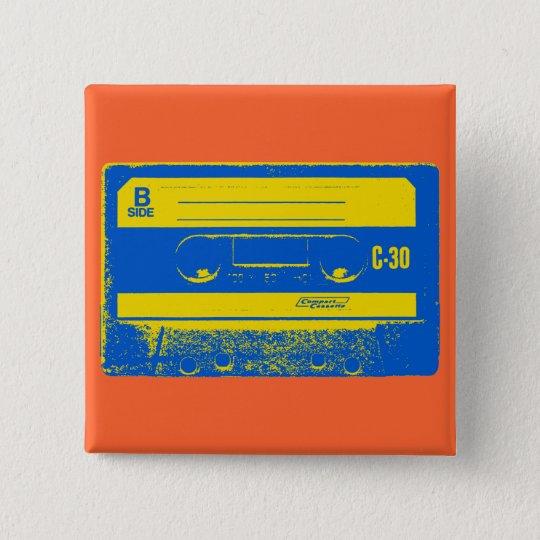 Cassette Tape Blue & Yellow Button
