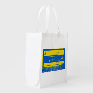 Cassette Tape Blue & Yellow Grocery Bag