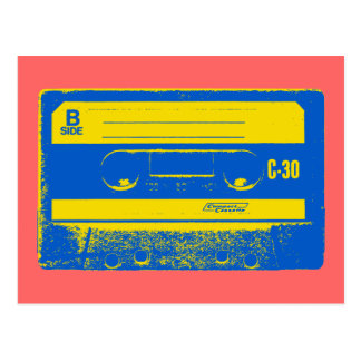 Cassette Tape Blue & Yellow Postcard