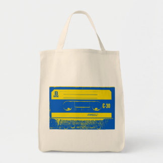 Cassette Tape Blue & Yellow Tote Bag