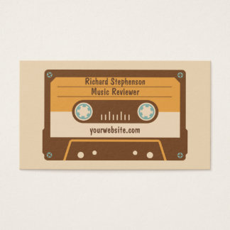 Cassette Tape Business Card Brown Cream Gold