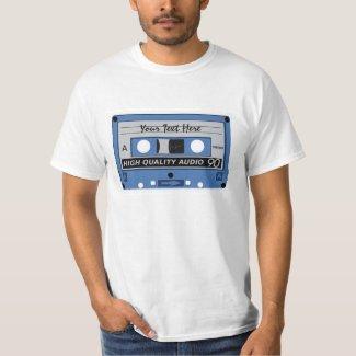 Adults Custom Audio Cassette Tape Tee - Add Any Messgae